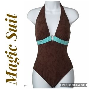 MAGICSUIT Swim Suit Brown Blue Halter Tie Size 8